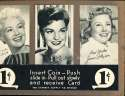 Exhibit Card 1 cent display movie stars Betty Grable