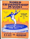 1945 World Championship football program Rams vs Redskins
