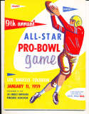 1959 1/15 Ninth Annual NFL All Star Pro Bowl Football Program bxnfl