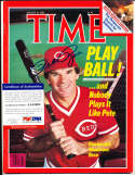 Pete Rose Reds 1985 no label newsstand  Signed Time Magazine psa/dna