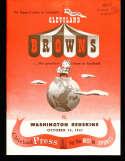 1951 10/14 Cleveland Browns vs Redskins Football program nm & envelope