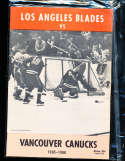 1965 Los Angeles Blades vs Vancouver Canucks hockey Program