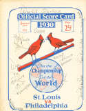 1930 World Series St. Louis Cardinals vs Philadelphia Athletics Program EX