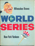 1958 World Series Milwaukee Braves vs New York Yankees Program em  UNSCORED