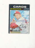 Jim Beauchamp St. Louis Cardinals 322 Signed 1971 topps card writing on back