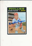 Woodie Fryman Phillies #414 Signed 1971 topps card
