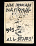 1945 American vs National League Baseball Program all star 2 Navy