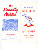 1958 Kansas City Athletics Press Guide (first)