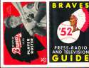 1952 Boston Braves press radio guide