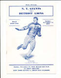 1937 11/21 New York Giants vs Detroit Lions Football Program ex