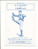 1939 11/12 NY Giants vs St. Louis Cardinals football Program Ward Cuff
