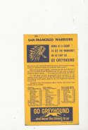 1964 Golden State Warriors Basketball Pocket Schedule