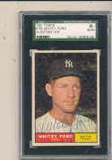 1961 topps card Signed #160 Whitey Ford Yankees vg  SGC authentic