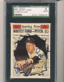 1961 topps card Signed #586 Whitey Ford Yankees all star SGC em authentic