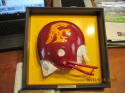 1972 USC full size helmet 1/2 cut framed and mounted display.