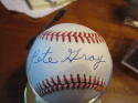 Pete Gray Signed Baseball NM Bobby Brown AL Rawlings clean ball
