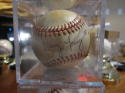 Larry Young umpire Signed Baseball Bobby Brown AL Rawlings tone ball