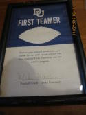 1970's Mike Mcgee Duke Coach Hall of Fame Signed recognition award framed