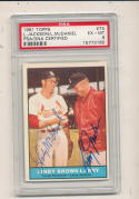 1961 topps card Signed #75 Linda McDaniel Larry Jackson psa/dna