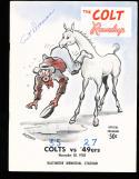 1958 11/30 Baltimore Colts vs 49ers signed football program Art Donovan
