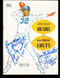 1955 10/16 Baltimore Colts vs Chicago Bears signed football program Lenny Moore Gino Machetti