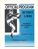 October 3rd, 1937 Detroit Lions vs. Green Bay Packers Football Program 12.6