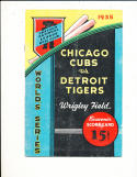 1935 world series program Cubs (hm) vs Tigers Scored Gm 5