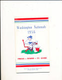Washington Nationals 1956 Press Radio tv Guide em