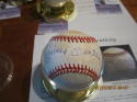 Mickey Mantle Yankees signed baseball OAL JSA letter stain