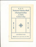 1934 March 17 AAU National Basketball Championship Program University of Wyoming National Champs