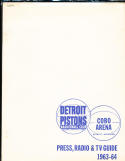 1963 - 1964 Detroit Pistons Basketball press radio TV guide