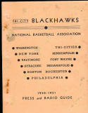 1950 - 1951 Tri-city Blackhawks NBA basketball press media guide