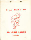 1961 - 1962 St. Louis hawks NBA basketball press media guide