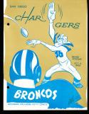 10/6 1963 Denver Broncos vs San Diego Chargers AFL Football Program (punched)