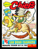 10/20 1963 Kansas City Chiefs vs San Diego Chargers AFL Football Program (punched)