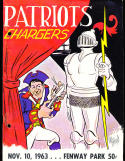 11/10 1963 New England Patriots vs San Diego Chargers AFL Football Program (punched)