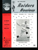 12/8 1963 Oakland Raiders vs San Diego Chargers AFL Football Program (punched)