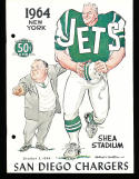 10/3 1964 New York Jets vs San Diego Chargers AFL Football Program (punched)