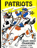 10/9 1964 New England Patriots vs San Diego Chargers Football Program (punched)