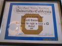 1996 University of California Football Varsity letter certificate award  David Burnside