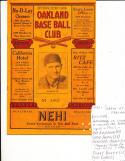 1931 Seattle Rainers vs Oakland oaks baseball program scored & signed