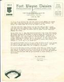 1954 4/13 Fort Wayne Daisies Bulletin #1 American Girls Baseball League baseball letter Bill Kerr
