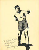 Jack Dempsey Original ink 1932 art drawing - personalized
