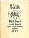 NAIA Press Book Third Annual  Division II Football Championship Guide 1972