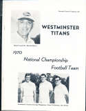 Westminster Titans 1970 National Championship Football Team booklet bk2 a20