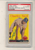 1958 Topps #16 Charley Neal Dodgers Signed baseball card psa/dna