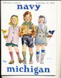 11/10 1945 Navy vs Michigan Football Program bxa
