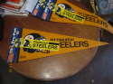 Pittsburgh Steelers yellow Pennant button and bumper sticker