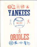 5/12 1967 Yankees vs Orioles scored program
