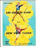 9/22 1950 New York Yanks vs Los Angeles Rams Football Program bxram